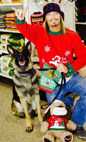 Bret Michaels with Dog in Ugly Sweater