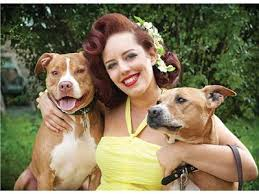 Deirdre Franklin with Pit Bulls