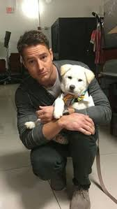 Justin Hartley with Dog