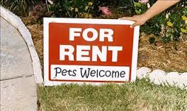 Rental Sign allowing pets