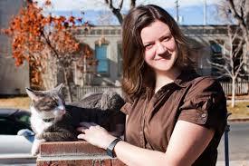 Sarah Timms with cat