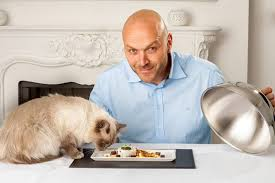 Simon Rimmer with gourmet cat food