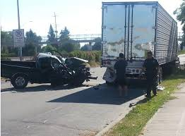 Truck and Semi-Truck crash scene