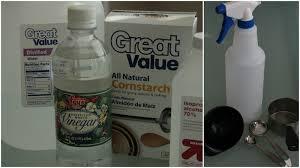 Distilled water, white vinegar and cornstarch