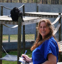 Amy Fulz with Chimp
