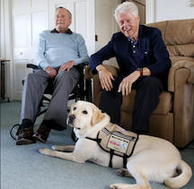 Presidents Bush and Clinton with Sully