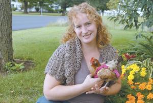 Julie Baker with Chicken