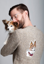 Man Wearing Shirt with Dog's Picture