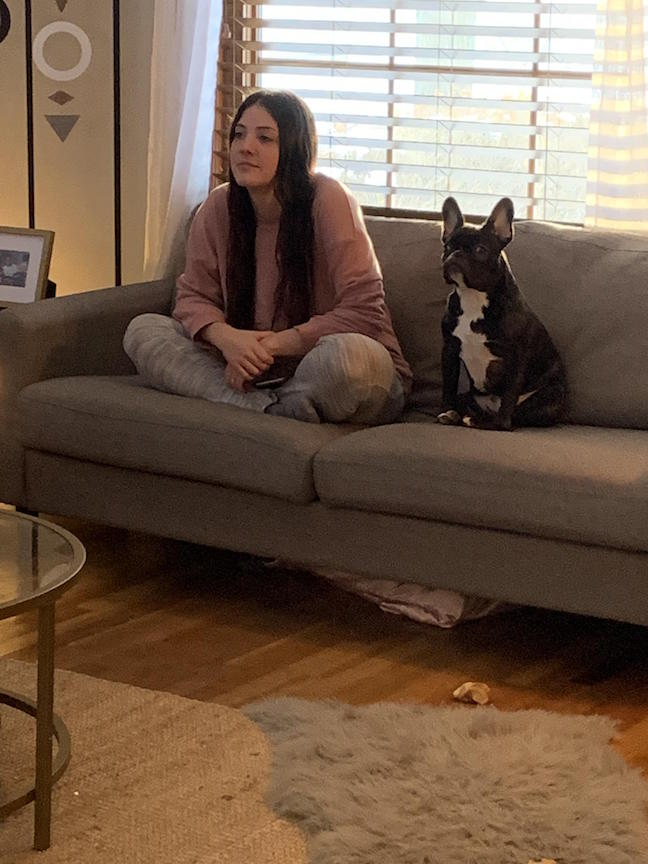 Woman Watching TV with Dog
