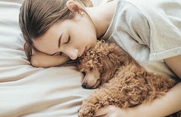 Woman Sleeping With Dog